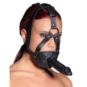 Kopffessel aus Echtleder mit Latexdildo und Mundknebel