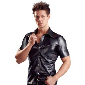 Hemd aus Lederimitat mit Schulterklappen