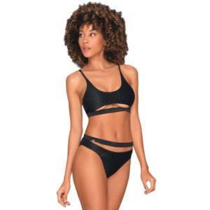 Bikini in Mattschwarz mit glänzendem Leomuster