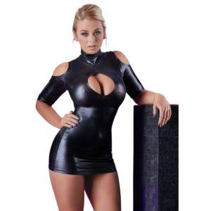 Minikleid aus Wetlook mit Stehkragen