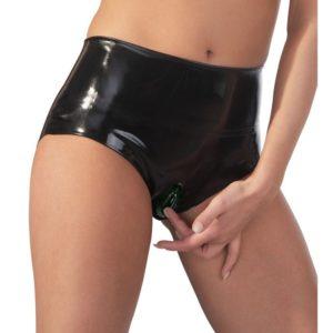 Slip aus Latex mit integriertem Kondom